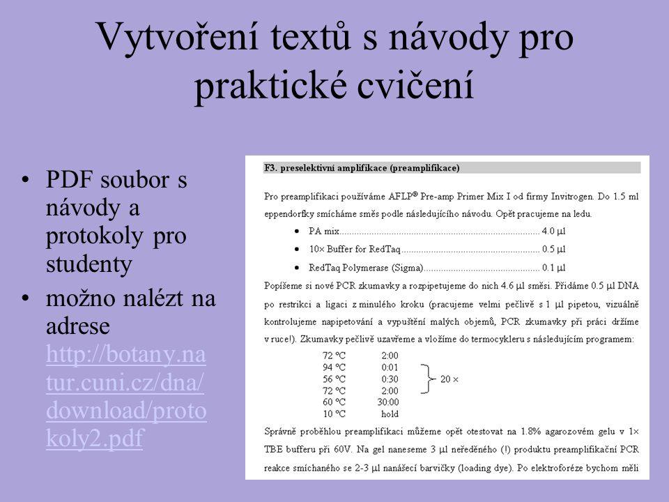 Vytvoření textů s návody pro praktické cvičení PDF soubor s návody a protokoly pro studenty možno nalézt na adrese http://botany.na tur.cuni.cz/dna/ download/proto koly2.pdf http://botany.na tur.cuni.cz/dna/ download/proto koly2.pdf