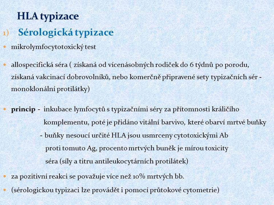 1) Sérologická typizace mikrolymfocytotoxický test allospecifická séra ( získaná od vícenásobných rodiček do 6 týdnů po porodu, získaná vakcinací dobrovolníků, nebo komerčně připravené sety typizačních sér - monoklonální protilátky) princip - inkubace lymfocytů s typizačními séry za přítomnosti králičího komplementu, poté je přidáno vitální barvivo, které obarví mrtvé buňky - buňky nesoucí určité HLA jsou usmrceny cytotoxickými Ab proti tomuto Ag, procento mrtvých buněk je mírou toxicity séra (síly a titru antileukocytárních protilátek) za pozitivní reakci se považuje více než 10% mrtvých bb.