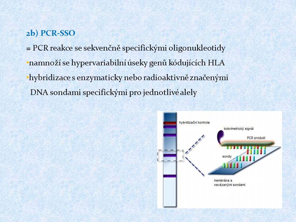 2b) PCR-SSO = PCR reakce se sekvenčně specifickými oligonukleotidy namnoží se hypervariabilní úseky genů kódujících HLA hybridizace s enzymaticky nebo radioaktivně značenými DNA sondami specifickými pro jednotlivé alely