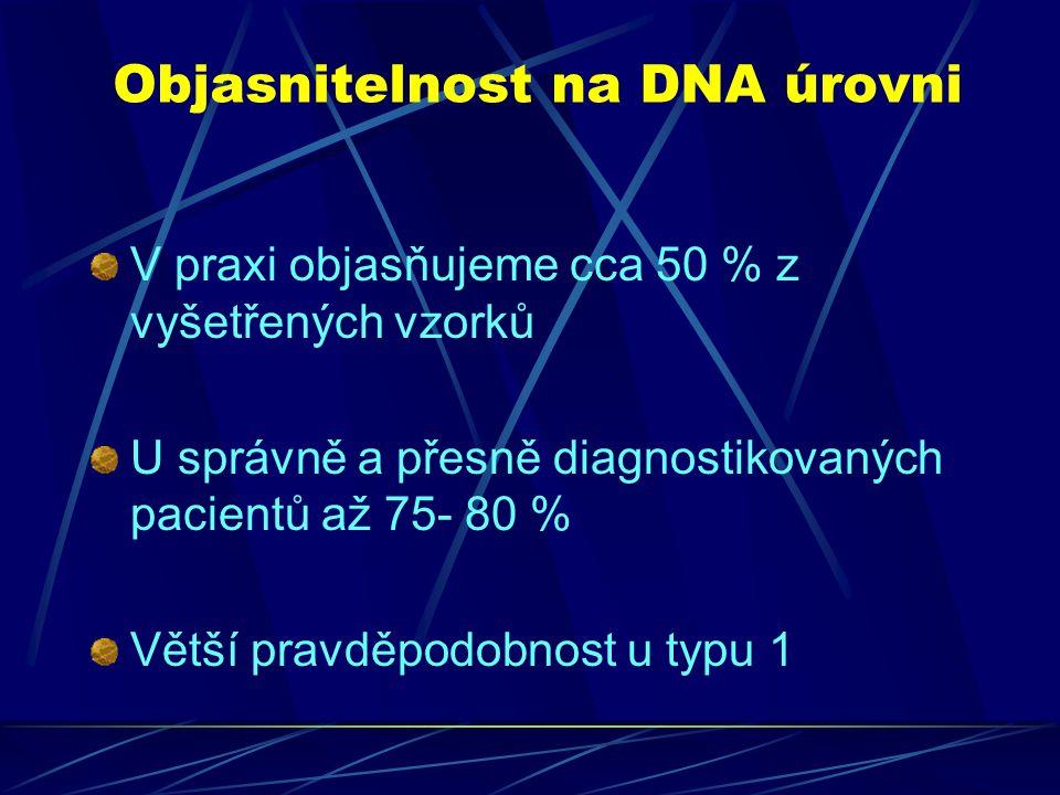 Objasnitelnost na DNA úrovni V praxi objasňujeme cca 50 % z vyšetřených vzorků U správně a přesně diagnostikovaných pacientů až 75- 80 % Větší pravděpodobnost u typu 1