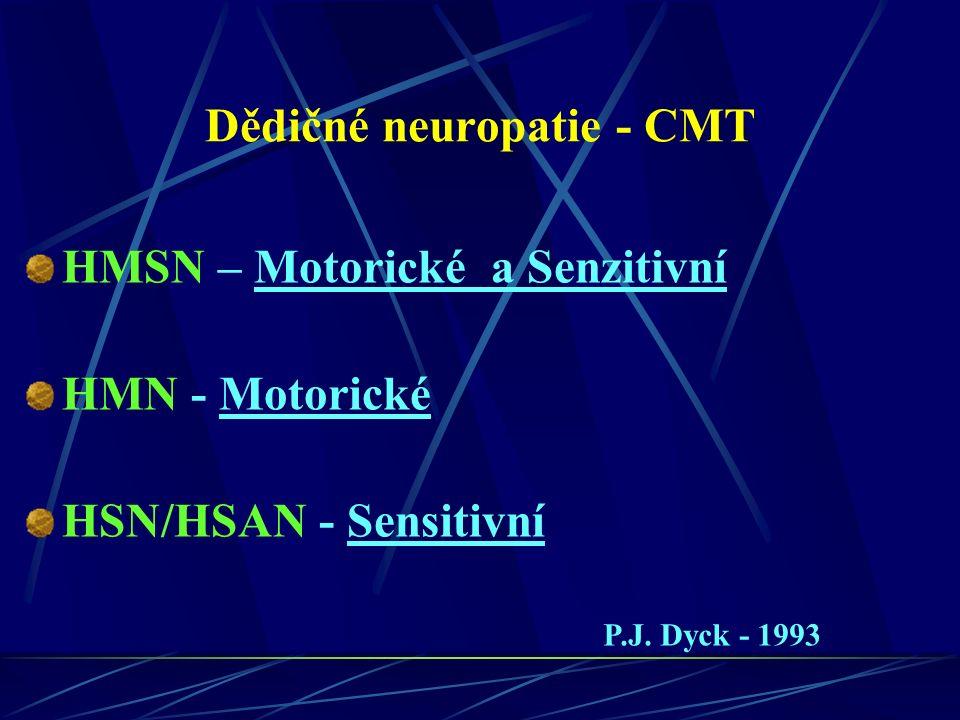 U CMT existují všechny typy dědičnosti AD – většina CMT se dědí tímto způsobem GD (X-D) - vázaný na chromozom X – postižený muž nemůže předat tuto vlohu svému synovi a předá ji všem svým dcerám AR – relativně vzácný Sporadický – nikdo v rodině nikde nemá podobné postižení – těžké dělat závěry – může být AR, ale a častěji jde o novou mutaci s dominantním efektem (AD)