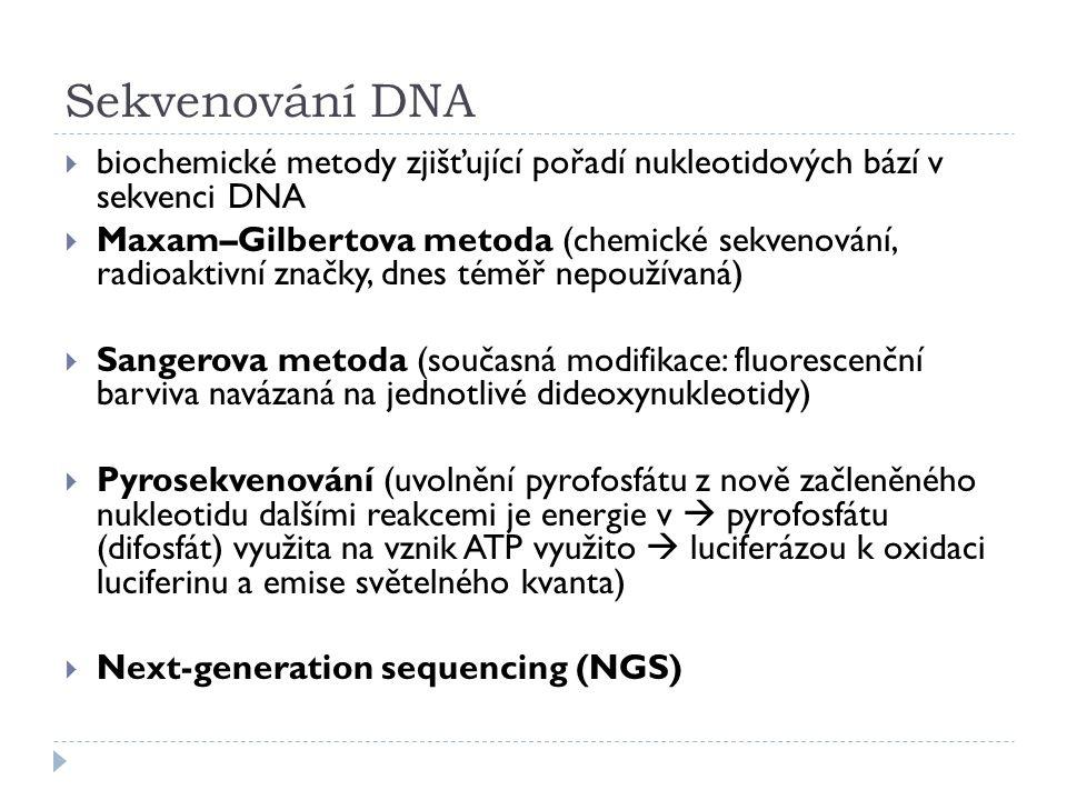 Sekvenování DNA  biochemické metody zjišťující pořadí nukleotidových bází v sekvenci DNA  Maxam–Gilbertova metoda (chemické sekvenování, radioaktivn