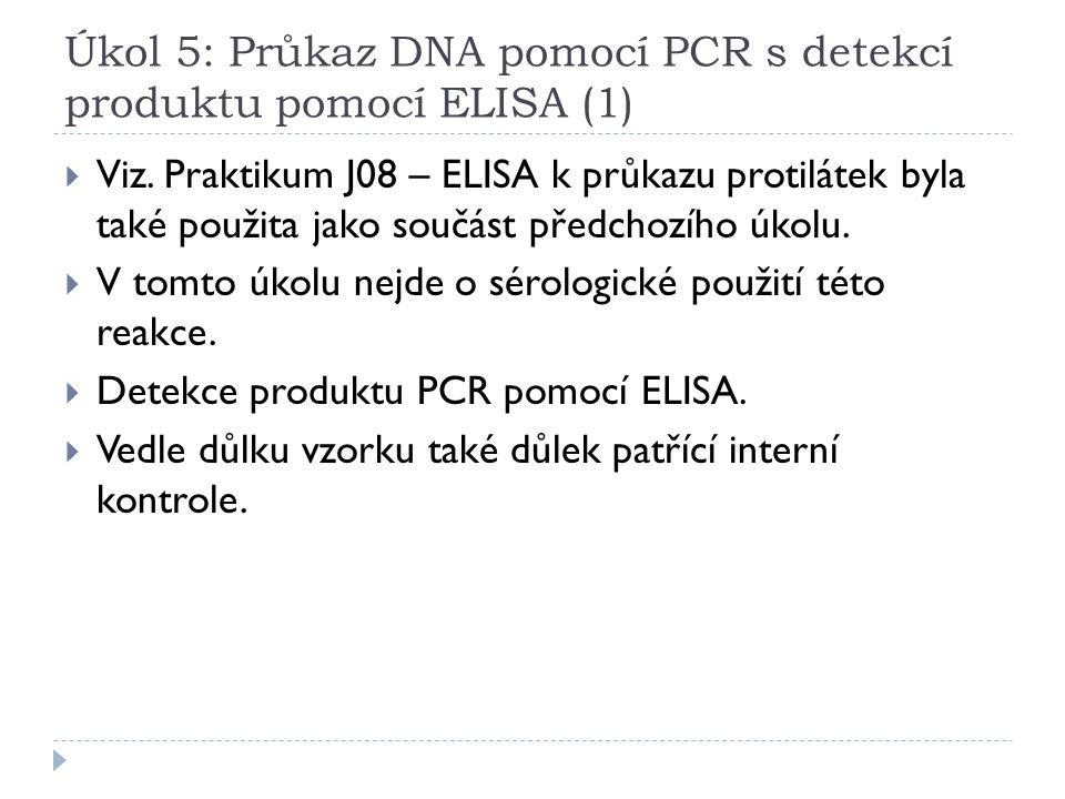 Úkol 5: Průkaz DNA pomocí PCR s detekcí produktu pomocí ELISA (1)  Viz. Praktikum J08 – ELISA k průkazu protilátek byla také použita jako součást pře