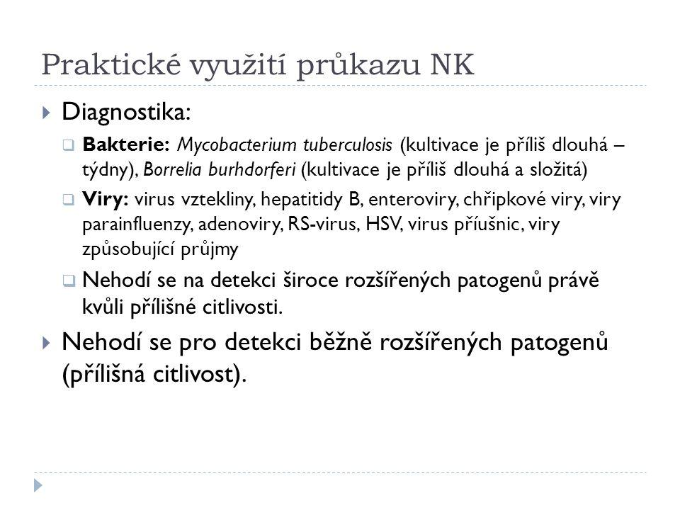 Praktické využití průkazu NK  Diagnostika:  Bakterie: Mycobacterium tuberculosis (kultivace je příliš dlouhá – týdny), Borrelia burhdorferi (kultiva