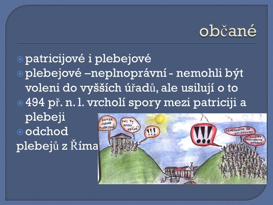  patricijové i plebejové  plebejové –neplnoprávní - nemohli být voleni do vyšších ú ř ad ů, ale usilují o to  494 p ř.