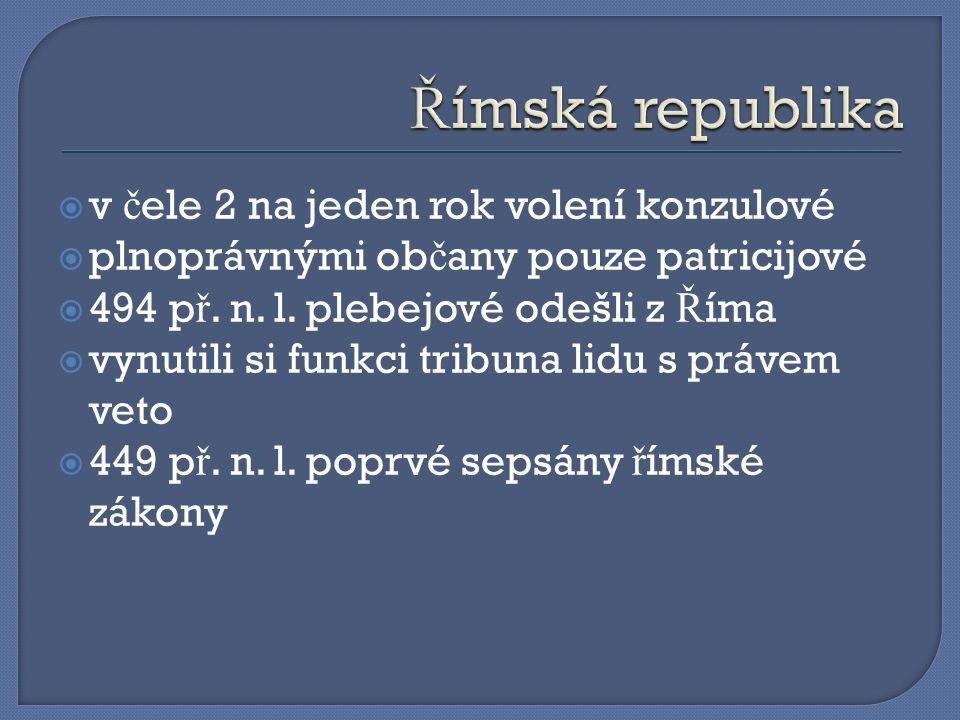  v č ele 2 na jeden rok volení konzulové  plnoprávnými ob č any pouze patricijové  494 p ř.