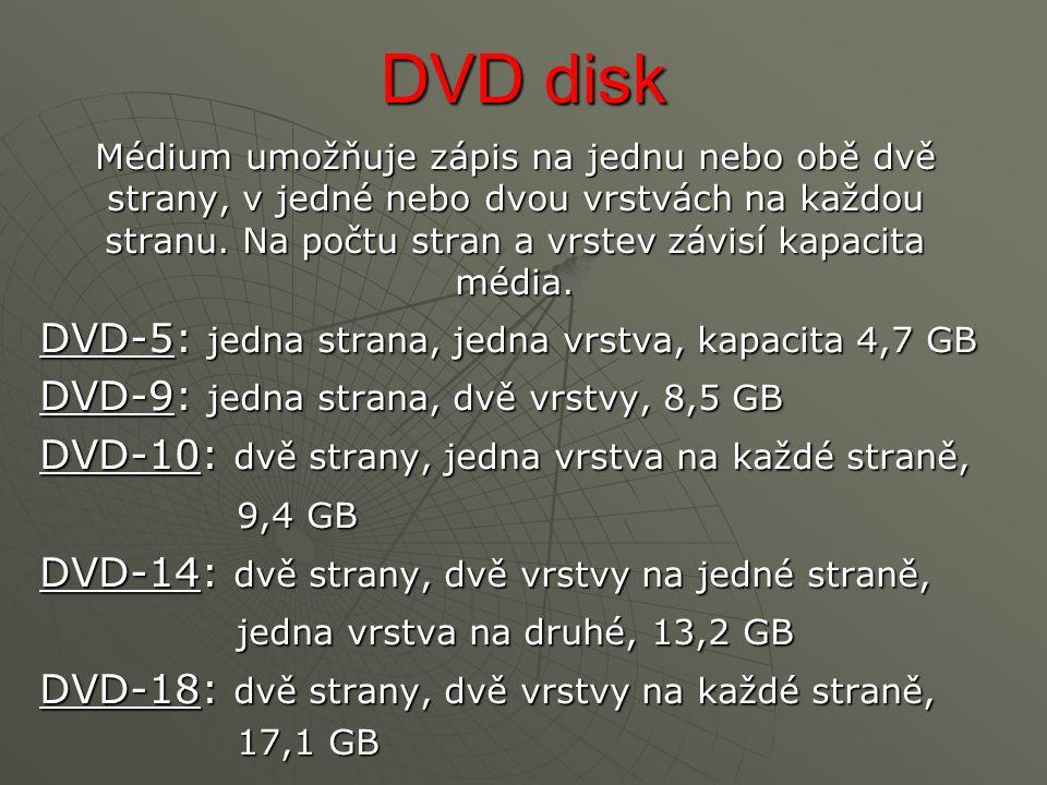 DVD disk Médium umožňuje zápis na jednu nebo obě dvě strany, v jedné nebo dvou vrstvách na každou stranu.