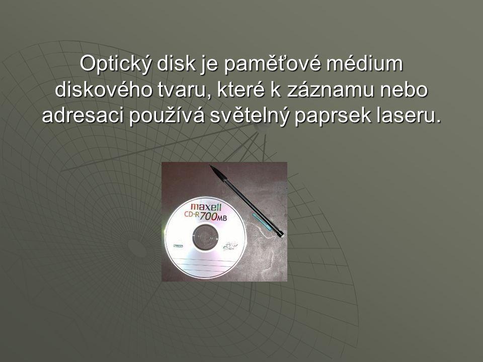 Optický disk je paměťové médium diskového tvaru, které k záznamu nebo adresaci používá světelný paprsek laseru.