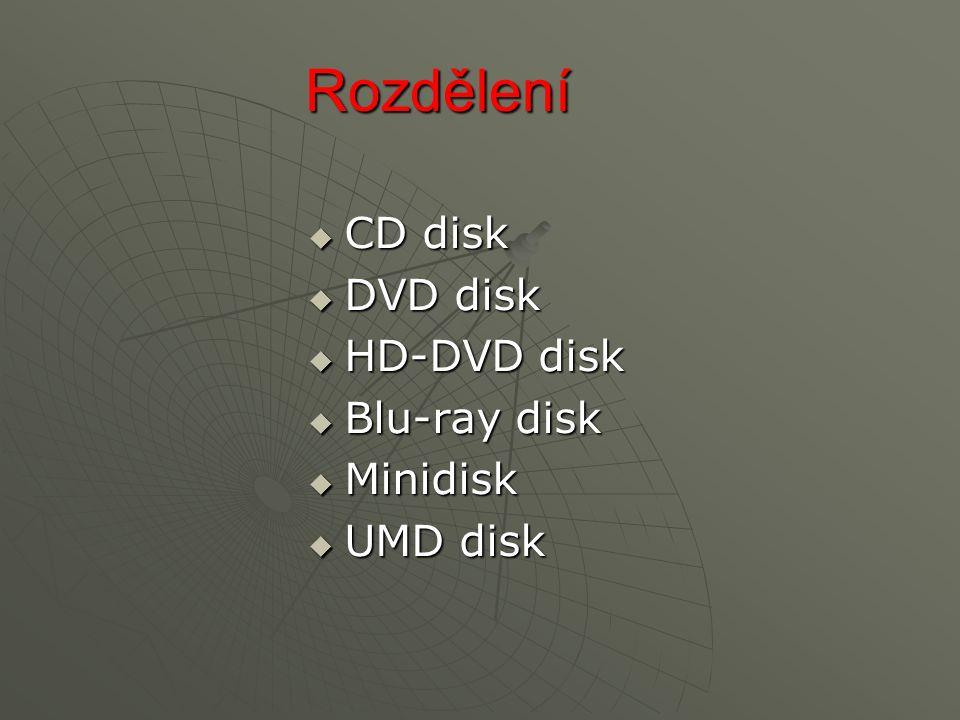 Rozdělení  CD disk  DVD disk  HD-DVD disk  Blu-ray disk  Minidisk  UMD disk