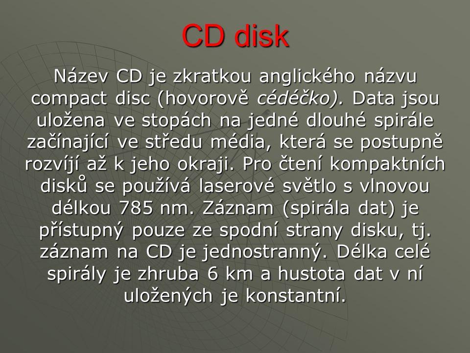 CD disk Název CD je zkratkou anglického názvu compact disc (hovorově cédéčko).