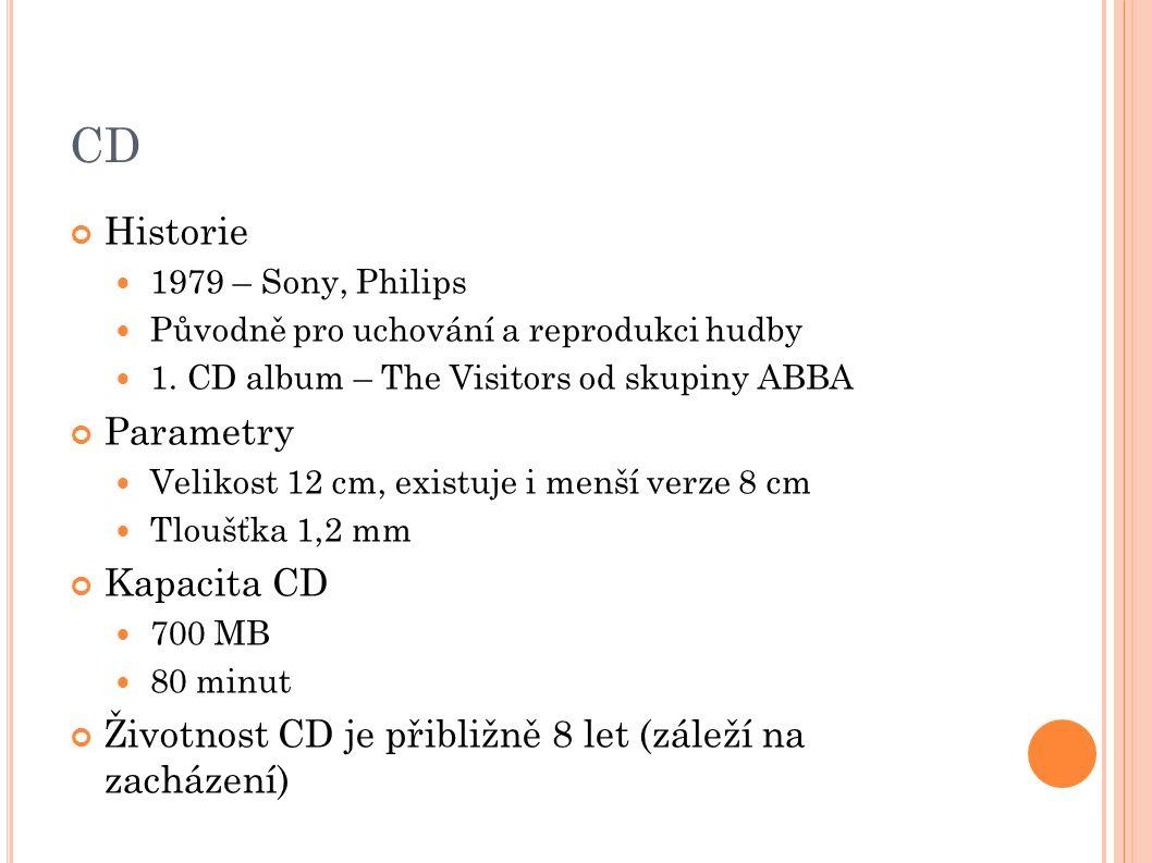 T YPY CD Audio CD CD-ROM Pro záznam dat, pouze pro čtení CD-R Vyrábějí se prázdná, lze zapsat pouze jednou CD-RW Přepisovatelné CD, lze zapisovat opakovaně VIDEO CD