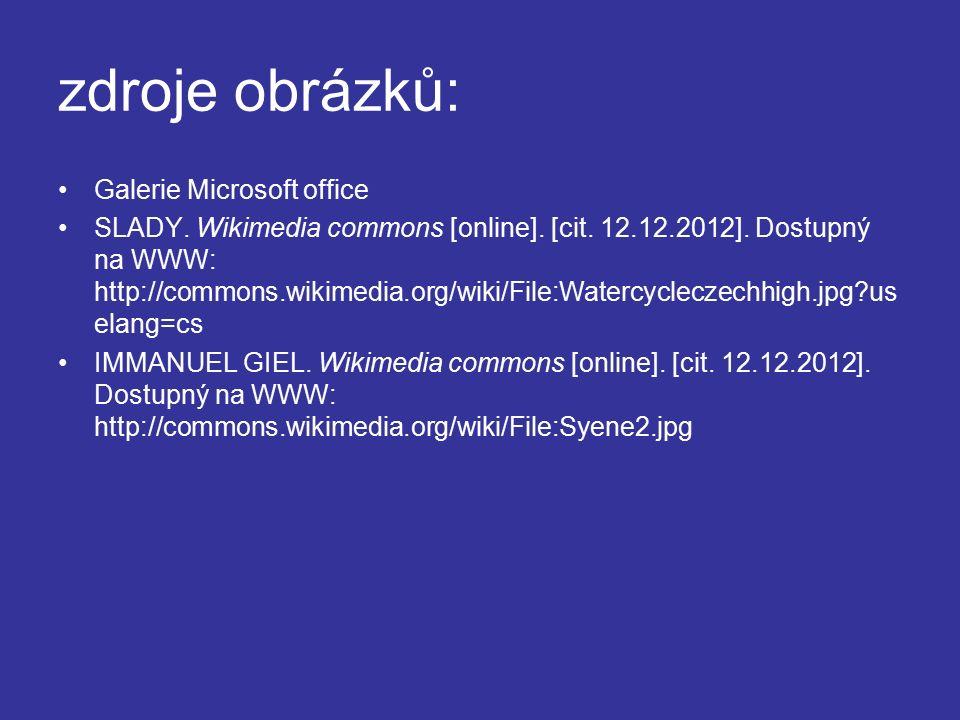 zdroje obrázků: Galerie Microsoft office SLADY. Wikimedia commons [online].