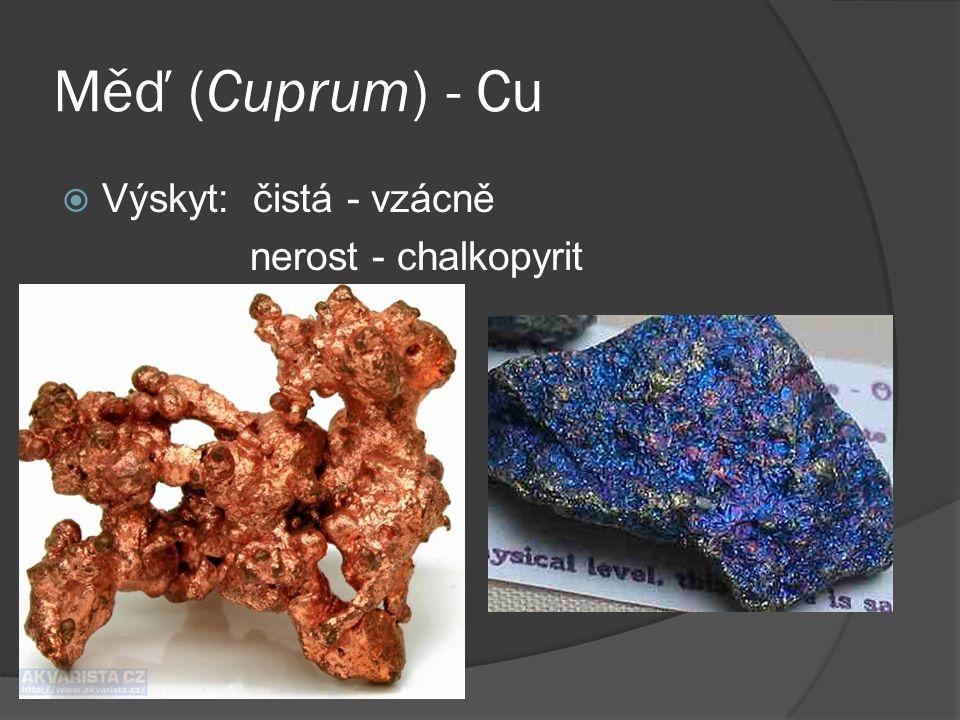 Měď (Cuprum) - Cu  Výskyt: čistá - vzácně nerost - chalkopyrit