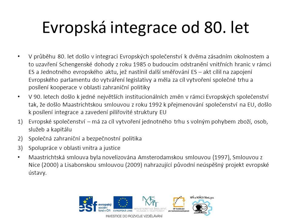 Evropská integrace od 80. let V průběhu 80.