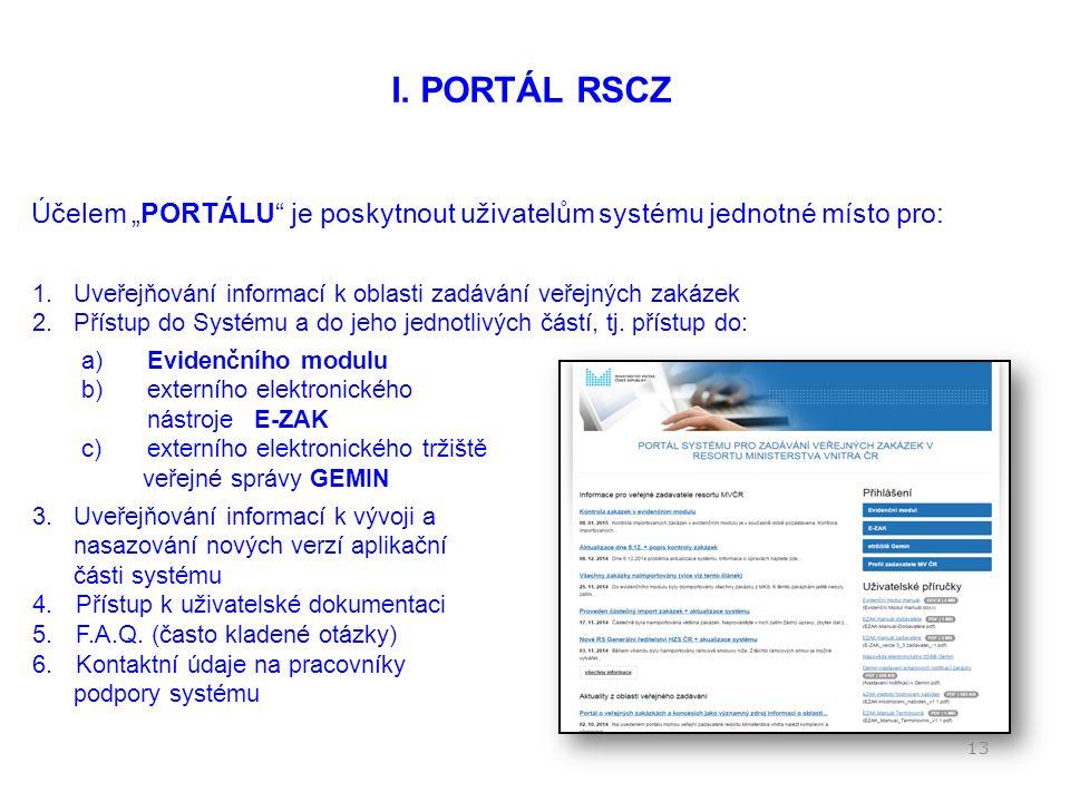 Elektronické zadávání prostřednictvím Resortního systému centralizovaného zadávání (RSCZ) 12 I.