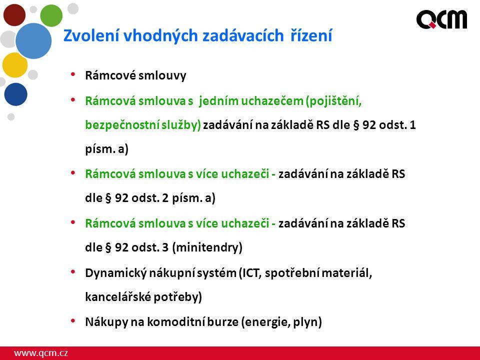 www.qcm.cz Rámcové smlouvy Rámcová smlouva s jedním uchazečem (pojištění, bezpečnostní služby) zadávání na základě RS dle § 92 odst.