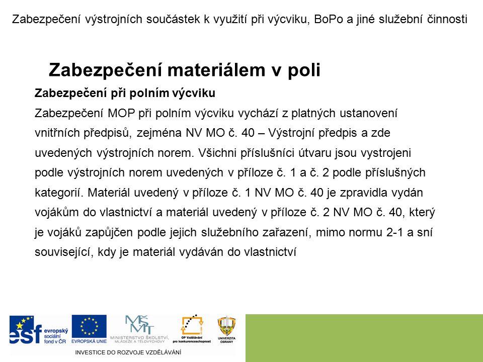 Zabezpečení materiálem v poli Zabezpečení při polním výcviku Zabezpečení MOP při polním výcviku vychází z platných ustanovení vnitřních předpisů, zejména NV MO č.