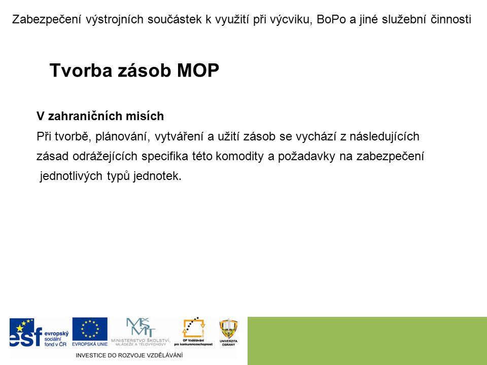 Tvorba zásob MOP Plán zabezpečení MOP Plán zabezpečení materiálem osobního použití (dále jen PZMOP) je klíčovým dokumentem pro plánování materiálních (resp.
