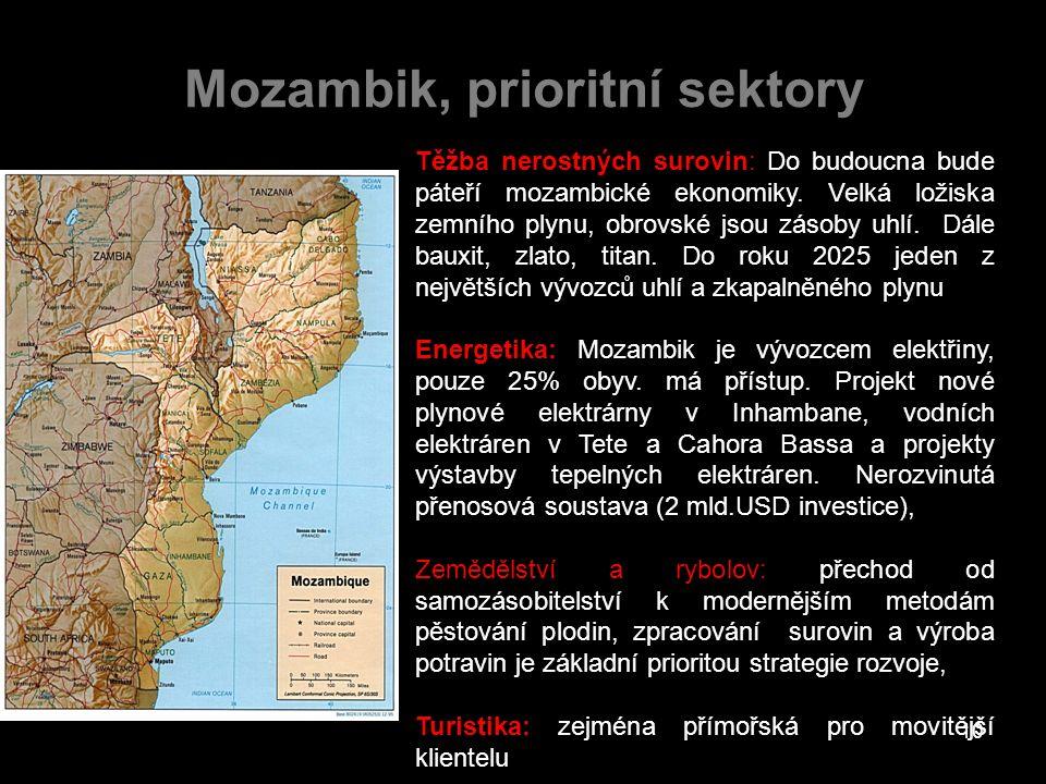 Mozambik, prioritní sektory Těžba nerostných surovin: Do budoucna bude páteří mozambické ekonomiky. Velká ložiska zemního plynu, obrovské jsou zásoby