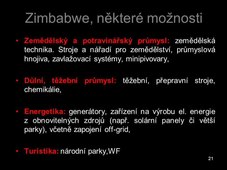 Zimbabwe, některé možnosti Zemědělský a potravinářský průmysl: zemědělská technika. Stroje a nářadí pro zemědělství, průmyslová hnojiva, zavlažovací s