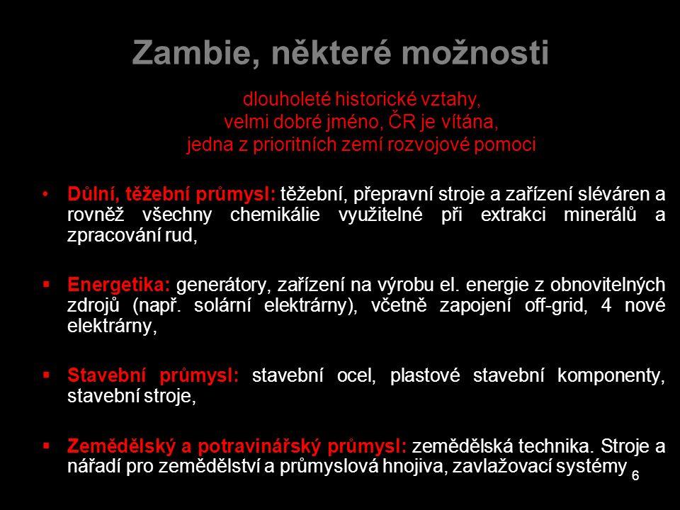 Zambie, některé možnosti Důlní, těžební průmysl: těžební, přepravní stroje a zařízení sléváren a rovněž všechny chemikálie využitelné při extrakci min