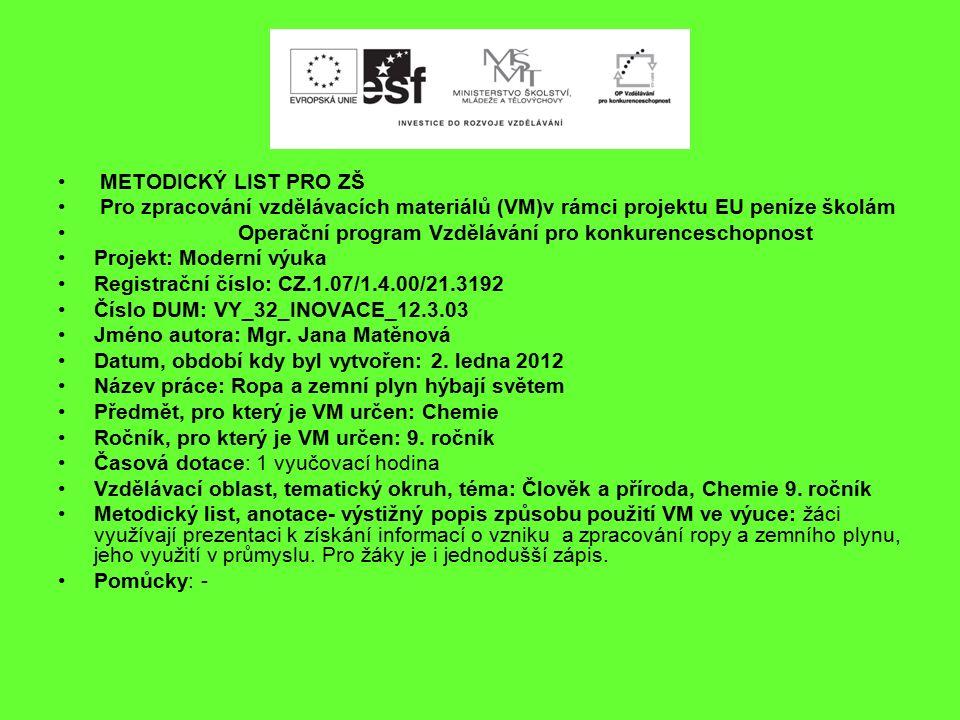METODICKÝ LIST PRO ZŠ Pro zpracování vzdělávacích materiálů (VM)v rámci projektu EU peníze školám Operační program Vzdělávání pro konkurenceschopnost Projekt: Moderní výuka Registrační číslo: CZ.1.07/1.4.00/21.3192 Číslo DUM: VY_32_INOVACE_12.3.03 Jméno autora: Mgr.