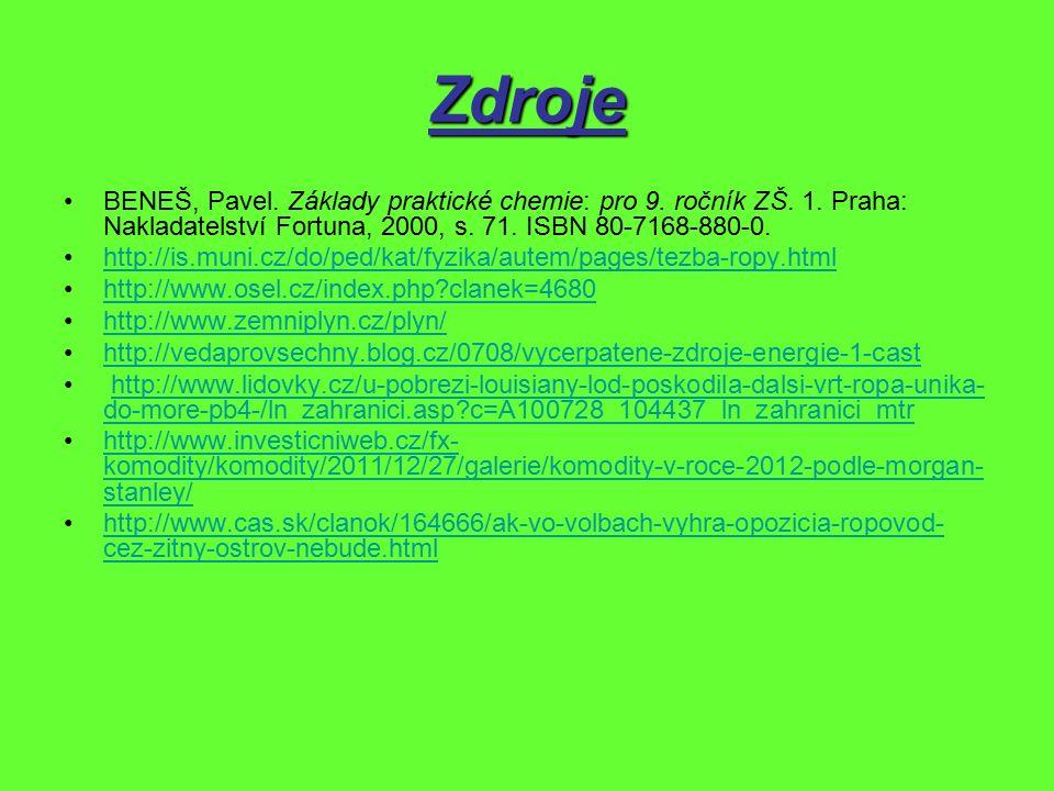 Zdroje BENEŠ, Pavel. Základy praktické chemie: pro 9. ročník ZŠ. 1. Praha: Nakladatelství Fortuna, 2000, s. 71. ISBN 80-7168-880-0. http://is.muni.cz/