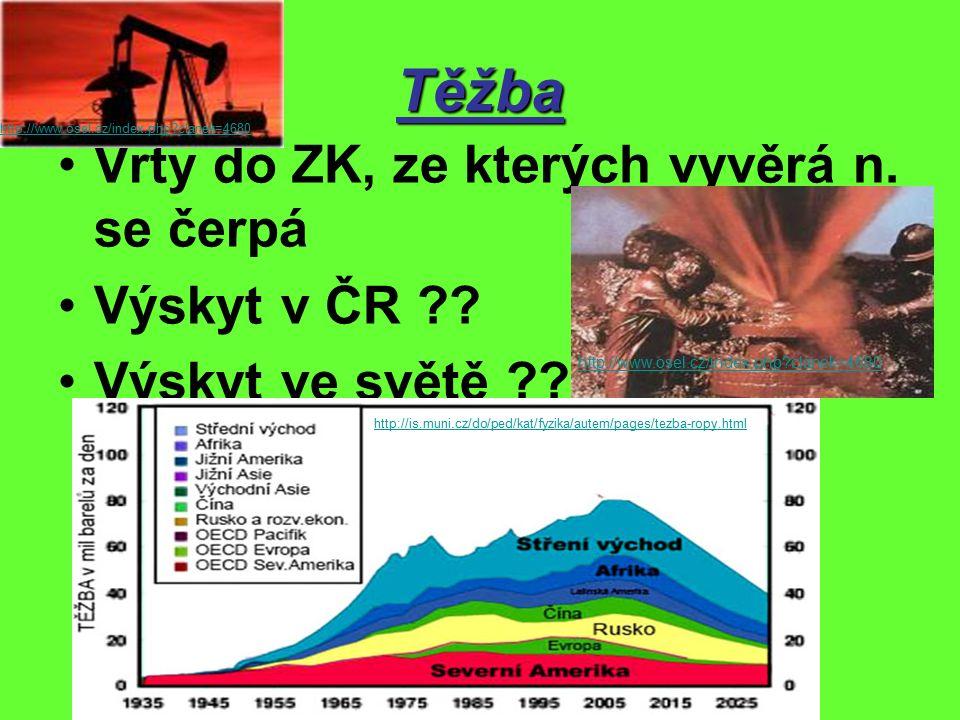 Těžba Vrty do ZK, ze kterých vyvěrá n. se čerpá Výskyt v ČR .