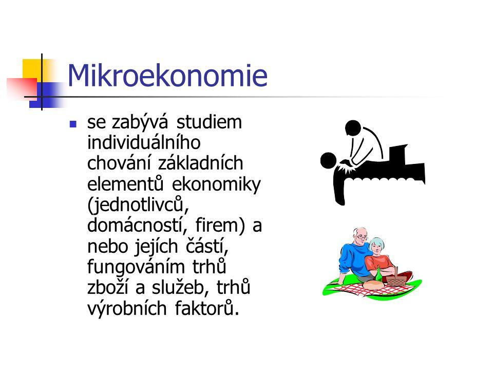 Mikroekonomie se zabývá studiem individuálního chování základních elementů ekonomiky (jednotlivců, domácností, firem) a nebo jejích částí, fungováním trhů zboží a služeb, trhů výrobních faktorů.