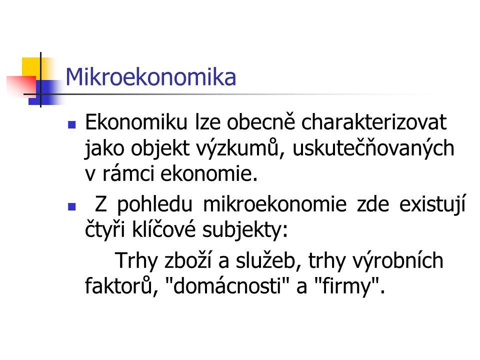 Mikroekonomika Ekonomiku lze obecně charakterizovat jako objekt výzkumů, uskutečňovaných v rámci ekonomie.