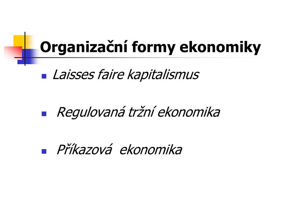 Organizační formy ekonomiky Laisses faire kapitalismus Regulovaná tržní ekonomika Příkazová ekonomika