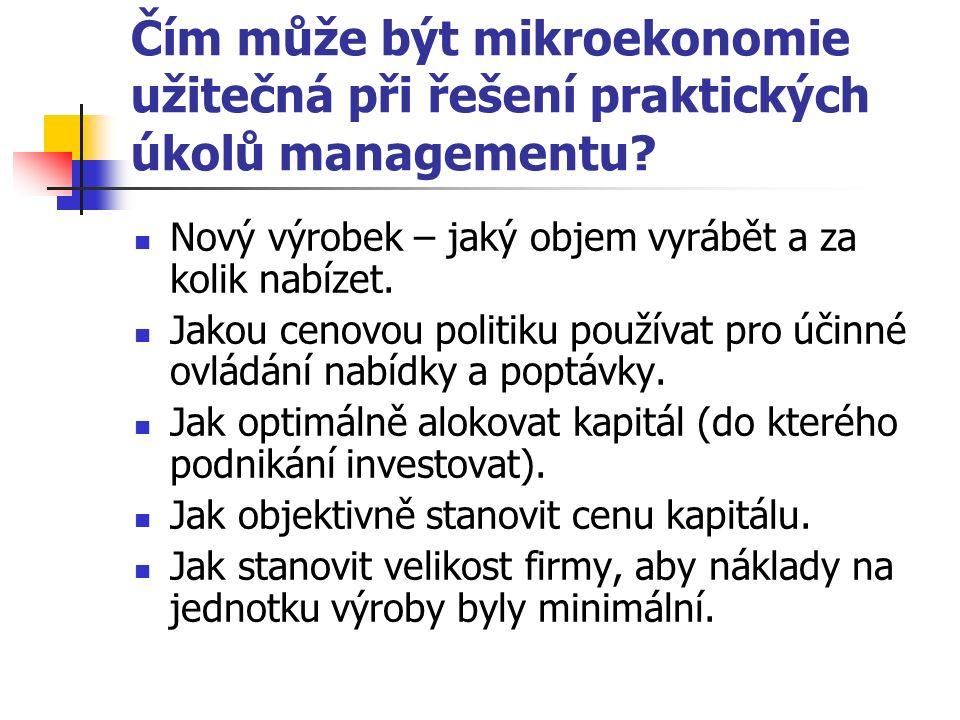 Čím může být mikroekonomie užitečná při řešení praktických úkolů managementu.