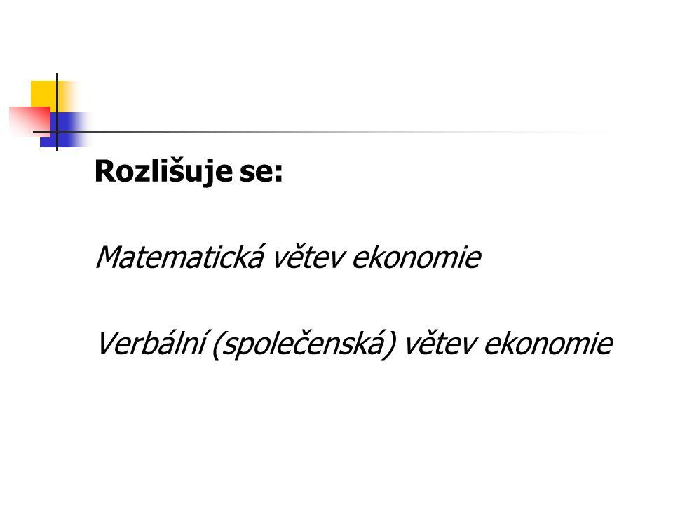 Rozlišuje se: Matematická větev ekonomie Verbální (společenská) větev ekonomie