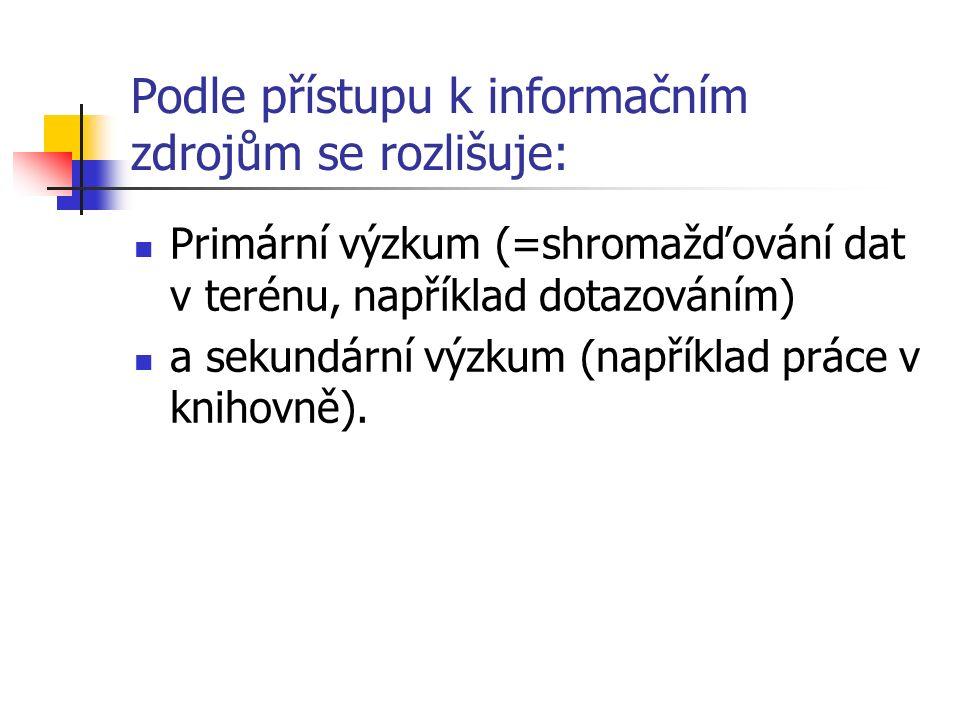 Podle přístupu k informačním zdrojům se rozlišuje: Primární výzkum (=shromažďování dat v terénu, například dotazováním) a sekundární výzkum (například práce v knihovně).