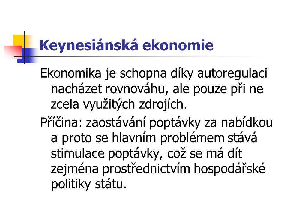 Keynesiánská ekonomie Ekonomika je schopna díky autoregulaci nacházet rovnováhu, ale pouze při ne zcela využitých zdrojích.
