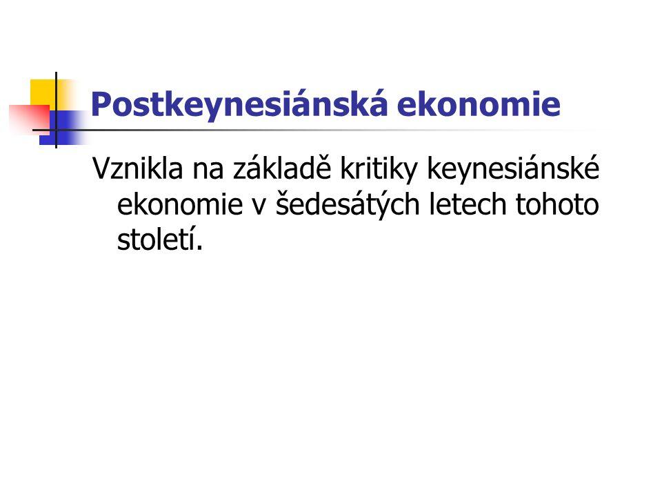 Postkeynesiánská ekonomie Vznikla na základě kritiky keynesiánské ekonomie v šedesátých letech tohoto století.