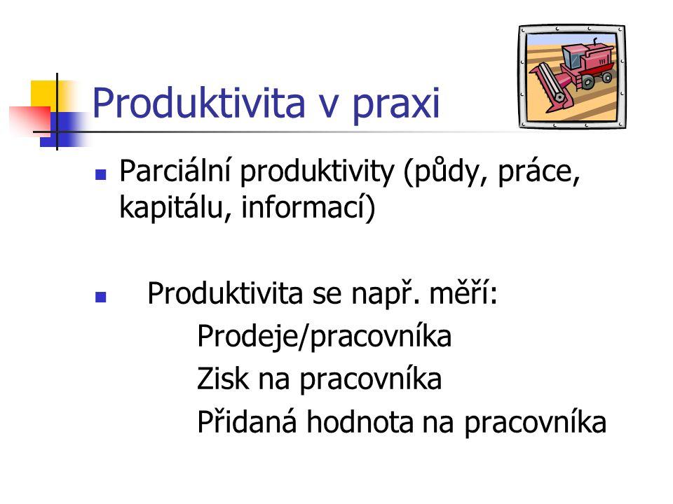 Produktivita v praxi Parciální produktivity (půdy, práce, kapitálu, informací) Produktivita se např.