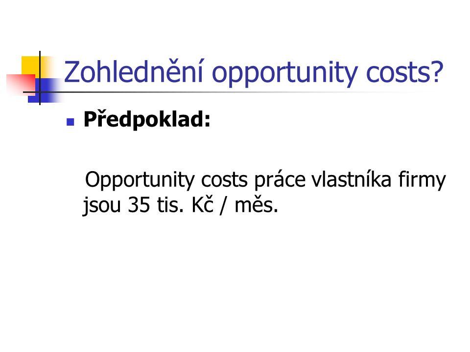 Zohlednění opportunity costs. Předpoklad: Opportunity costs práce vlastníka firmy jsou 35 tis.