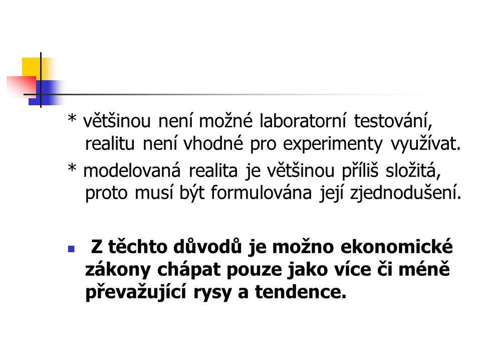 * většinou není možné laboratorní testování, realitu není vhodné pro experimenty využívat.