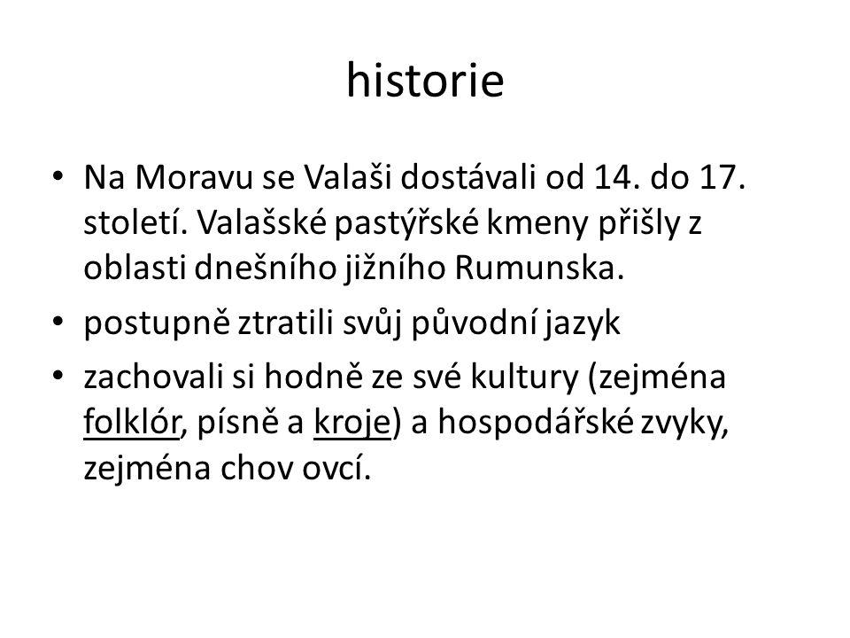 historie Na Moravu se Valaši dostávali od 14. do 17. století. Valašské pastýřské kmeny přišly z oblasti dnešního jižního Rumunska. postupně ztratili s