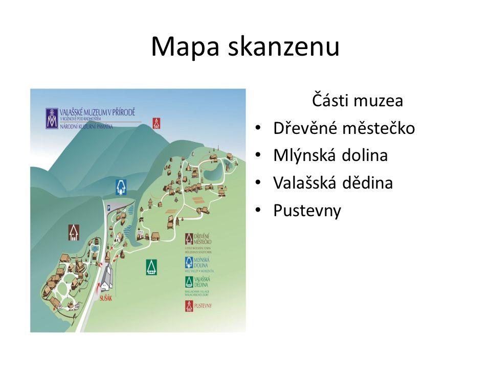Mapa skanzenu Části muzea Dřevěné městečko Mlýnská dolina Valašská dědina Pustevny