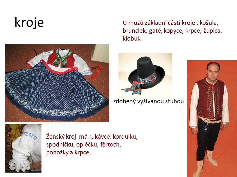 kroje Ženský kroj má rukávce, kordulku, spodničku, opléčku, fěrtoch, ponožky a krpce. U mužů základní částí kroje : košula, brunclek, gatě, kopyce, kr