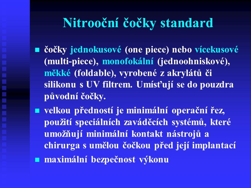 Nitrooční čočky standard čočky jednokusové (one piece) nebo vícekusové (multi-piece), monofokální (jednoohniskové), měkké (foldable), vyrobené z akrylátů či silikonu s UV filtrem.