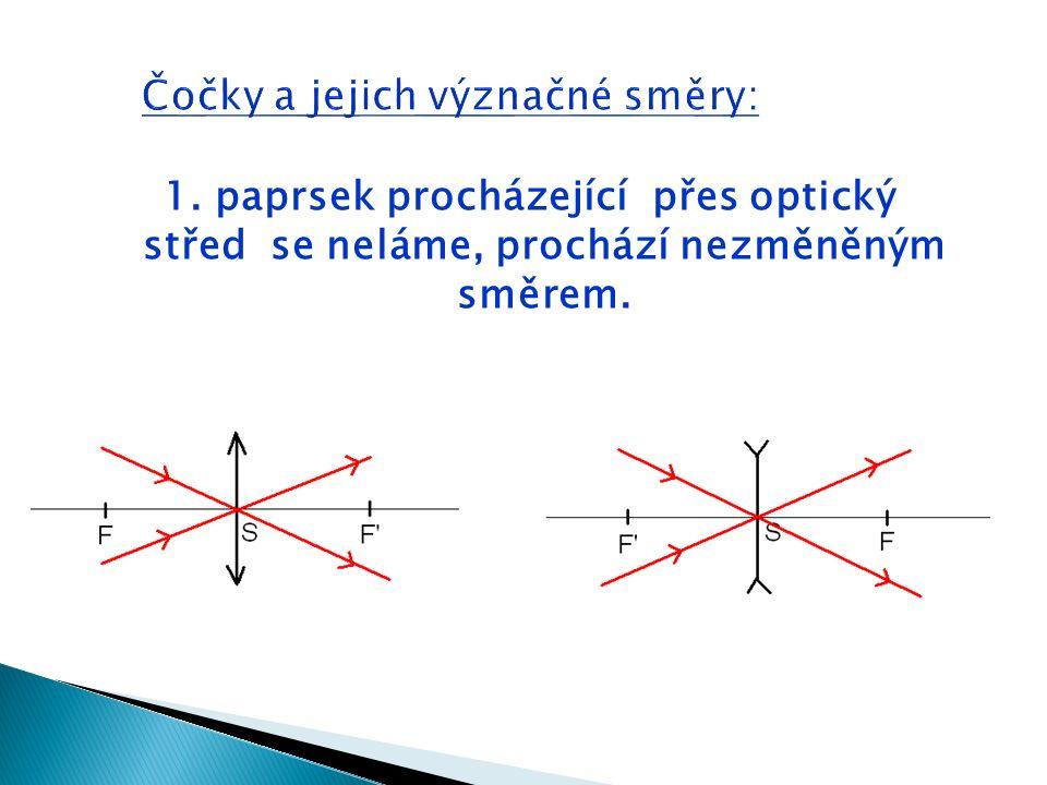 1. paprsek procházející přes optický střed se neláme, prochází nezměněným směrem.