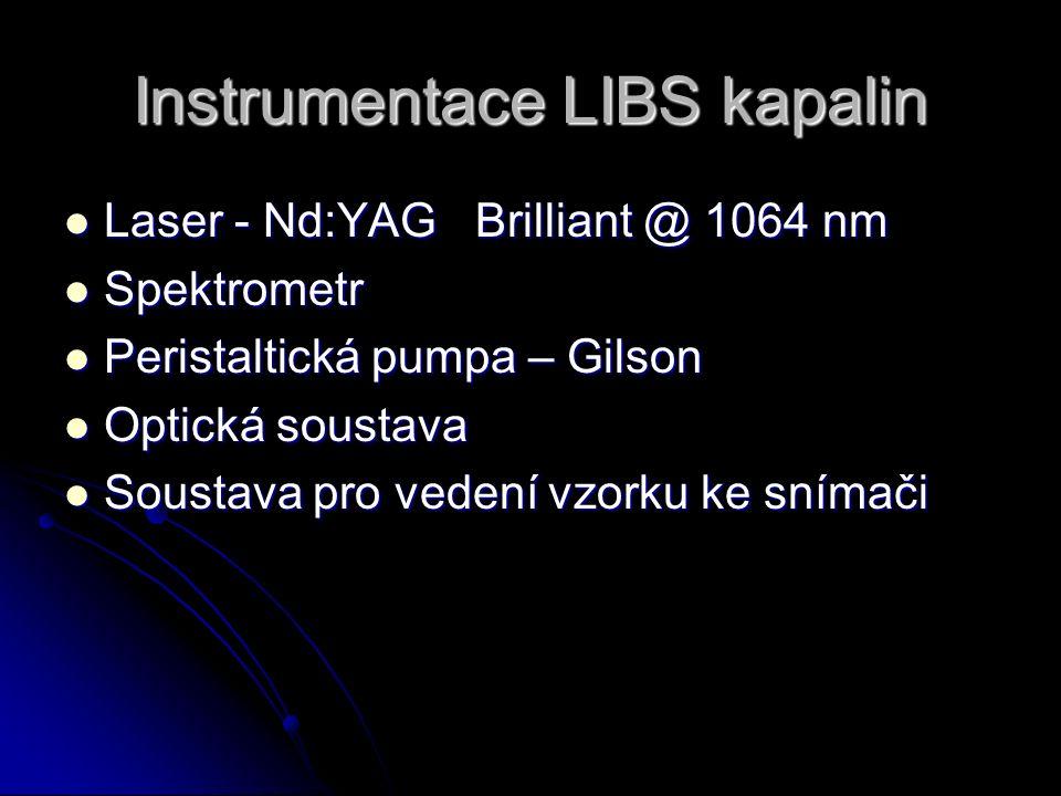 Instrumentace LIBS kapalin Laser - Nd:YAG Brilliant @ 1064 nm Laser - Nd:YAG Brilliant @ 1064 nm Spektrometr Spektrometr Peristaltická pumpa – Gilson Peristaltická pumpa – Gilson Optická soustava Optická soustava Soustava pro vedení vzorku ke snímači Soustava pro vedení vzorku ke snímači
