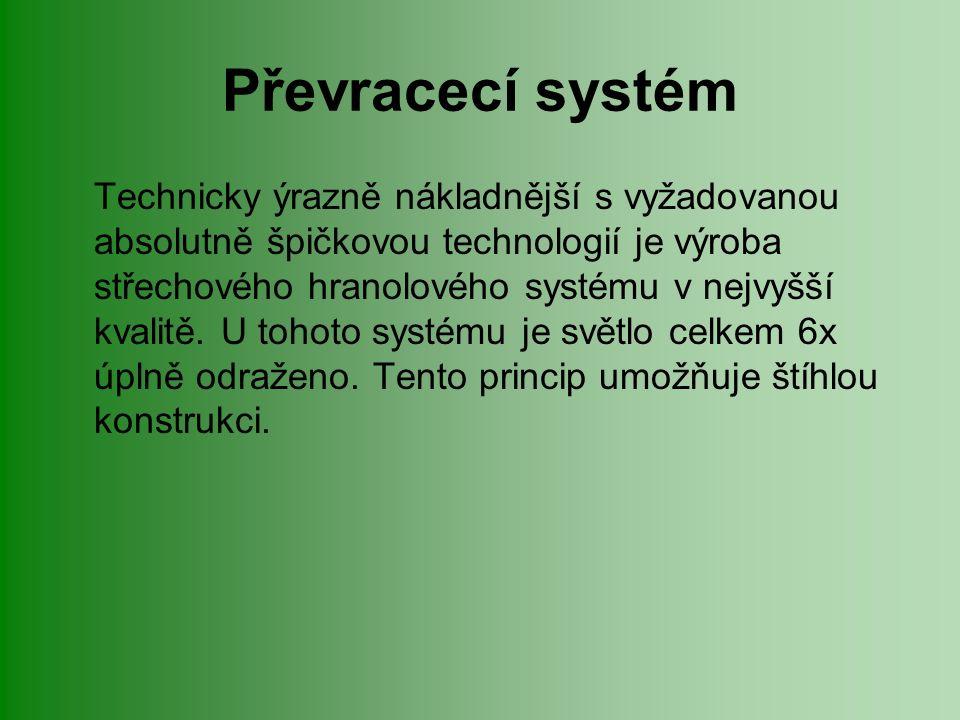 Převracecí systém Technicky ýrazně nákladnější s vyžadovanou absolutně špičkovou technologií je výroba střechového hranolového systému v nejvyšší kvalitě.