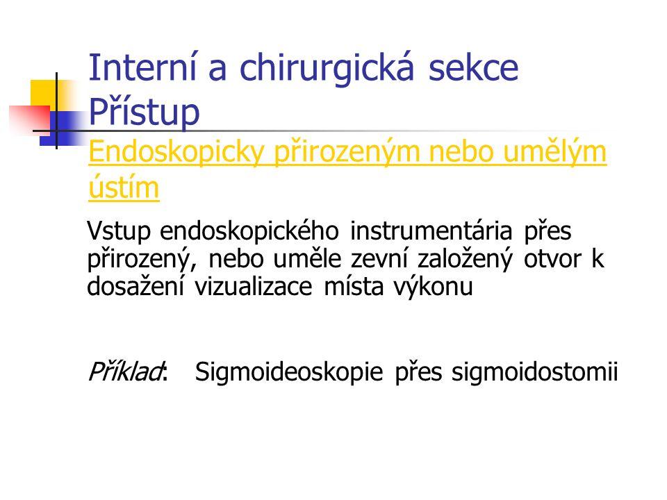 Interní a chirurgická sekce Přístup Endoskopicky přirozeným nebo umělým ústím Vstup endoskopického instrumentária přes přirozený, nebo uměle zevní založený otvor k dosažení vizualizace místa výkonu Příklad:Sigmoideoskopie přes sigmoidostomii