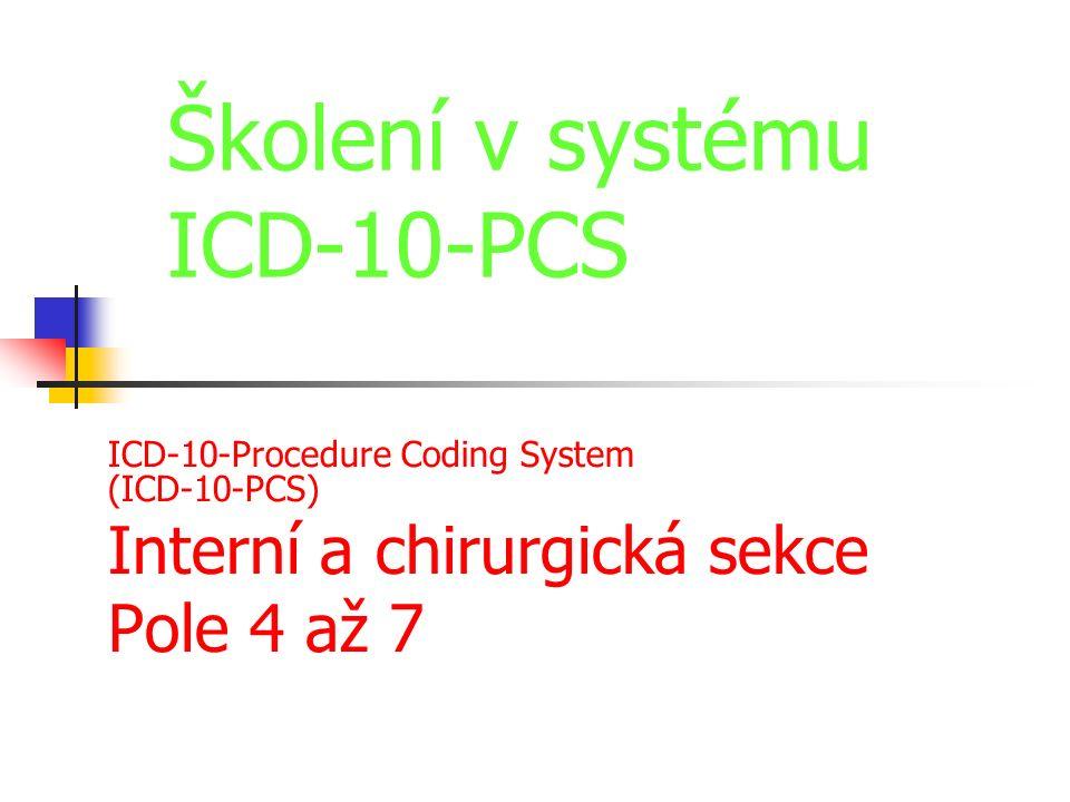 ICD-10-Procedure Coding System (ICD-10-PCS) Interní a chirurgická sekce Pole 4 až 7