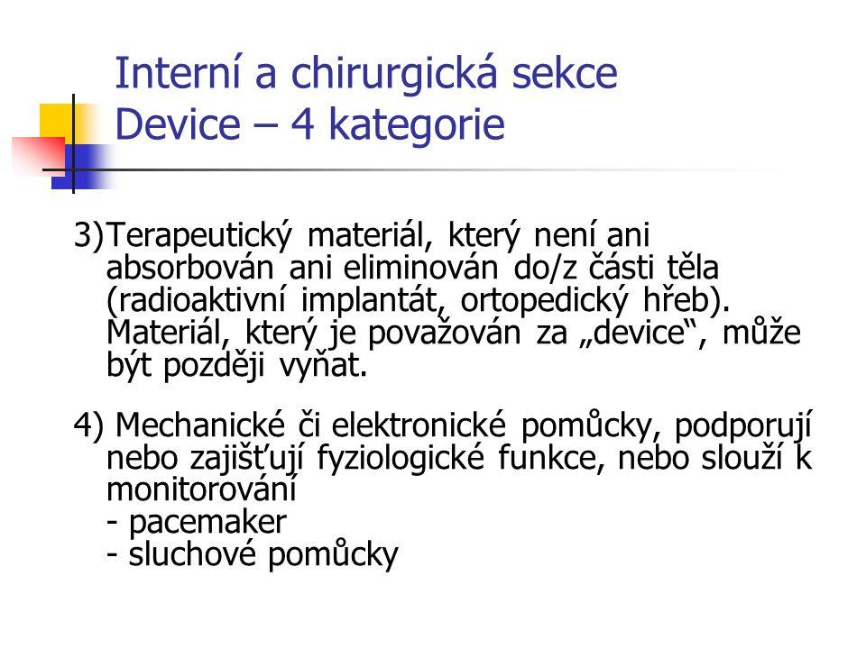 Interní a chirurgická sekce Device – 4 kategorie 3)Terapeutický materiál, který není ani absorbován ani eliminován do/z části těla (radioaktivní implantát, ortopedický hřeb).