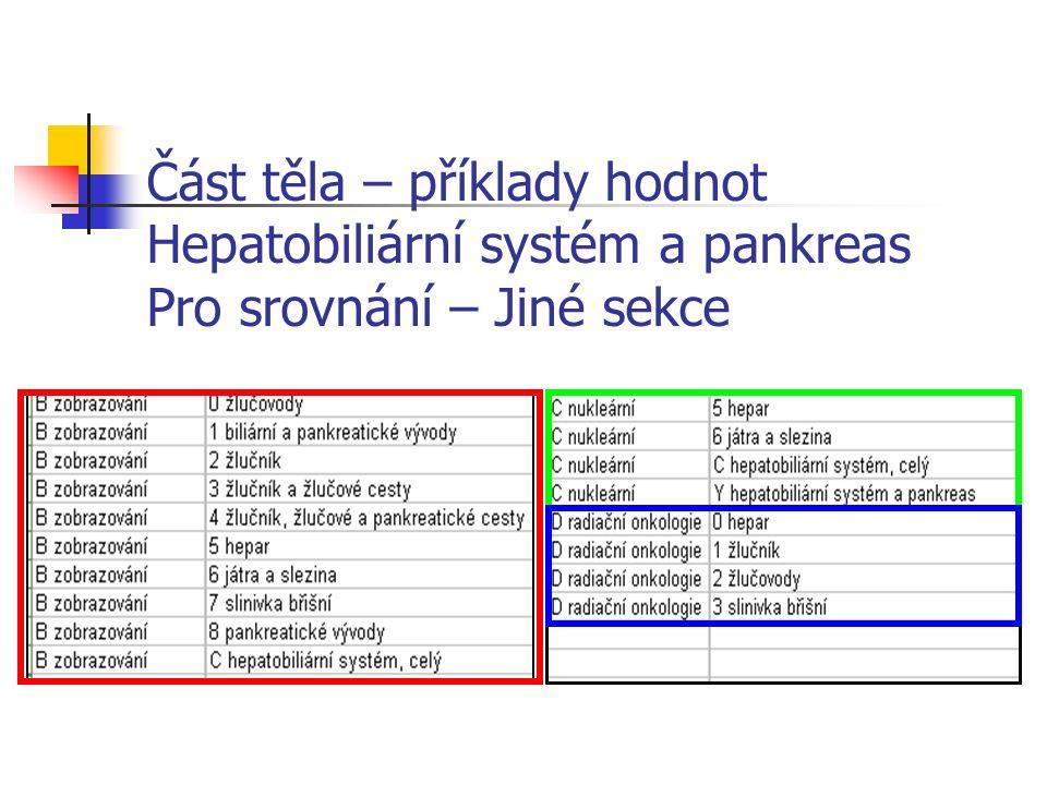 Část těla – příklady hodnot Hepatobiliární systém a pankreas Pro srovnání – Jiné sekce